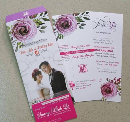 Thiệp cưới in hình cô dâu chú rể